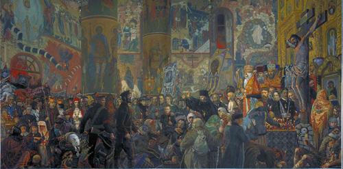 Илья Глазунов. Разгром Храма в Пасхальную ночь.  1999.
